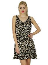Bimba Women Animal Print Short Mini Sleeveless Dress Elastic Waist Casual Chic