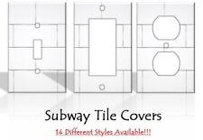 Subway Tile Backsplash Imitation Light Switch Covers Decor - MADE FROM PLASTIC