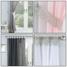 VEGAS Sparkle Diamante Glitz Bling Voile Net Curtain Tab Top Single Panels