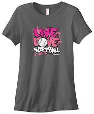Threadrock Women's Live Love Softball T-shirt Coach Team Fastpitch