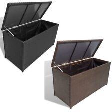 vidaXL Garden Storage Chest Poly Rattan Bench Box Cabinet Trunk Black/Brown