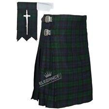 Reloj negro escocés 5 Yarda Kilt Highland Tartán/Kilt Pin, destella 3 Piezas Set