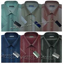 Mens Short Sleeve Poly Cotton Stripe Shirt M - XXL By Tom Hagan
