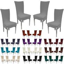 Stuhlhussen 4er SET Sesselbezug Stuhlbezug Jersey Dehnbare Stretch Stoff Husse