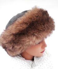 femmes Bonnet en fourrure synthétique simili-cuir D' HIVER tricotés chapeaux