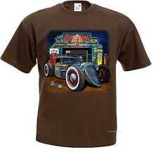 Camiseta Marrón V8 US Car OLDSCHOOL HOT rod-& `50 Estilo Modelo Rat TOD GARAGE