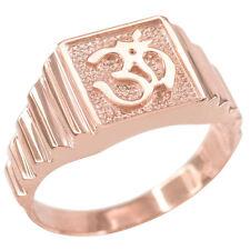 Solid Rose Gold Om Aum Hindu Hum Brahman Yoga Yogi Men's Ring