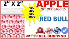 "2"" x 2"" Apple baggies 2020 mini ziplock bags PRINTED DESIGN (RED BULL DOG) QTY"