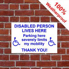 Discapacitados Persona Lives Here Cortés Cartel de Estacionamiento Discapacidad