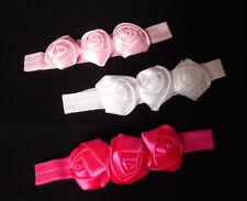 Haarband Stirnband Haarschmuck Baby Kopfband 3 große Rosen weiß pink rosa