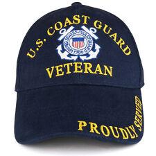 US Coast Guard Veteran Embroidered Structured Cotton Twill Baseball Cap
