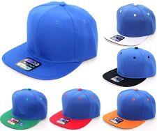 PLAIN SNAPBACK CAP HAT BLUE ADJUSTABLE ONE SIZE FITS ALL ADJUSTABLE