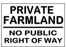 Letrero de metal ≈ tierras agrícolas privadas sin derecho de paso ≈ Advertencia Aviso de tierra granja de utilidad