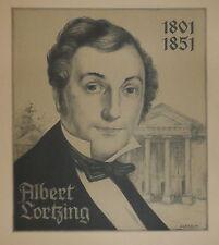 1940-GRANDE INCISIONE-RITRATTO DI Lortzing Albert-COMPOSITORE-MUSICA