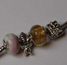 4 Stück Großlochperle European Beads Armband Kette Lampwork Lampenperle Glasperl