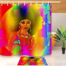 Dressed Up Makeup Afro African Women Shower Curtain Bathroom Waterproof Fabric