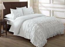 Chezmoi Collection Ella 3-Piece Waterfall Ruffle Comforter Set, White
