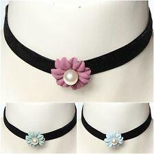 Choker Kropfband mit Perlen-Blume Kropfband Kette Samt Barock