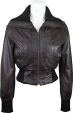UNICORN Femmes court Bomber style Réel en cuir Veste - Brun #EB