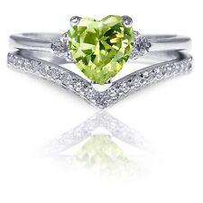 Elegant Peridot Heart CZ Genuine Sterling Silver 2  Ring Chevron Set