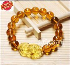 New 8mm Feng Shui Citrine Yellow Pi Yao Pi Xiu Bracelet Bead for Wealth Luck