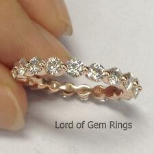 14K Rose Gold Wedding Band Ring 3mm Round Charles & Colvard Moissanite