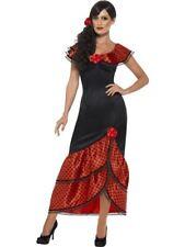 Womens Ladies Red Flamenco Senorita Spanish National Dress Fancy Dress Costume