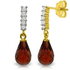 Natural Red Garnet Briolette Gems & Diamonds Drop Dangle Earrings 14K Solid Gold