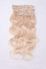 #613 hellichtblond GEWELLTE CLIP IN Remy Extensions Echthaar Haarverlängerung
