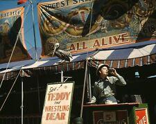 Carnival barker drinks Coca-Cola at Vermont State Fair Rutland 1941 Photo Print