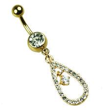 Oro Piercing Ombligo Joya con gotas colgante dorado Multi cristales