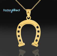 Gold Horseshoe Lucky Pendant Necklace Charm Arc Amulet Crescent Caballo