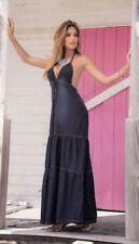 Espiral Blue Chambray Denim Long Maxi Summer Sun Dress 4991