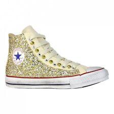 Converse all Star Beige personalizzate tessuto Glitter Oro borchi effetto sporco