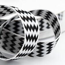 Black Double Sided Zig Zag  Satin Chevron Ribbon 15mm x 10m - Italian Options