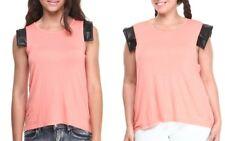 Baby Phat Coral Vegan Leather Cap Cuff Sleeve Top Shirt Water Girls Women Plus