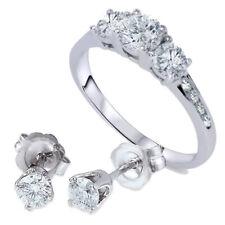 1 1/2ct 3 Stone Diamond Ring & Matching Studs 14K White Gold