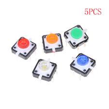 5PCS 12X12X7.3 Tactile Push Button Switch Momentary Tact LED JB