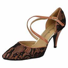 Anne Michelle L2273 Ladies Black and Pink Lace Court Shoe (R32A) (Kett)