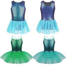 Girls Mermaid Ballet Dance Dress Leotard Dancewear Kids Ballerina Party Costumes