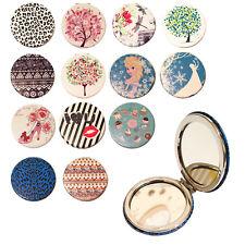 Bolso de Maquillaje Espejo De Bolsillo Plegable Cubierta De Cuero Diseño de agua redondeadas Lurex