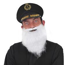 ADULTS BLACK SAILORS HAT WHITE BEARD NAVY CAPTAIN MARINE OFFICER FANCY DRESS