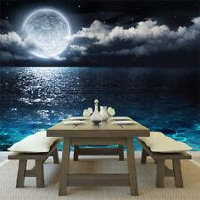 Full Moon Wall Mural Night Ocean Seascape Photo Wallpaper Bedroom Home Decor
