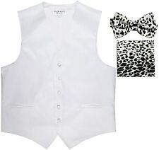 New Men's Formal Vest Tuxedo Waistcoat white Leopard Bowtie Hankie set
