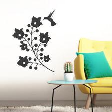 Wandtattoo Blumen mit Kolibri, Ranke Vogel Wandsticker Wandaufkleber Wanddeko