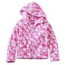Hello Kitty Girls Super Soft Fleece Zipper Hoodie Jacket Pink & White NWT