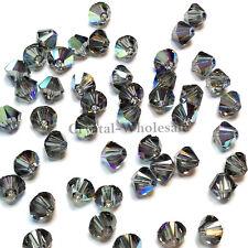 4mm Black Diamond AB (215 AB) Swarovski crystal 5328 / 5301 Loose Bicone Beads