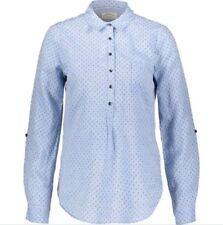 CAMBRIDGE DRY GOODS Blue Palm Tree Print Linen Shirt - UK 10