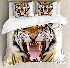 Tiger Duvet Cover Set with Pillow Shams Young Panthera Growling Print