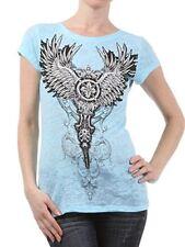 R. Rouge Ladies Aqua Rhinestone Wings Burnout Tee Shirt NEW